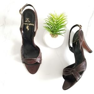 Ralph Lauren Italy Slingback Sandals Brown Leather